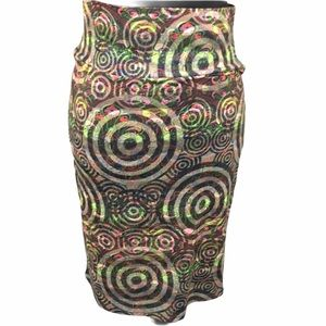 LuLaRoe Circles & Paisley Skirt Multi Color, Small